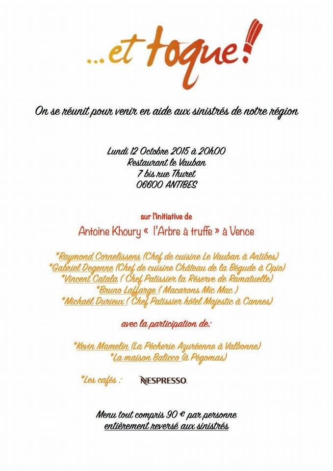 1 dîner de solidarité pour les victimes des intempéries dans les Alpes-Maritimes
