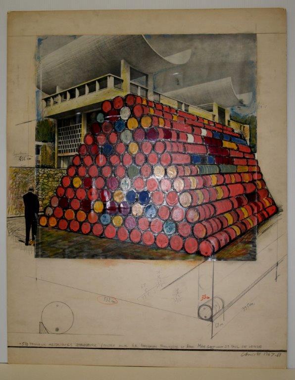 Christo, Projet d'intervention dans la cour de la Fondation 520 tonneau..._0