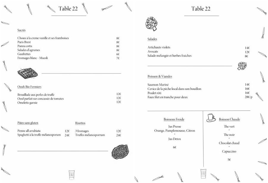 menu brunch mantel table 22